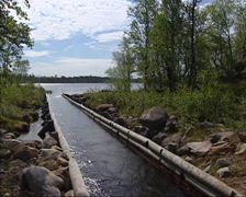 First canal connecting lakes for firewood transportation to Roros Copper Mines Stock Footage