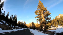 POV road trip State Route 108 Sonora mountain Pass snow Sierra Nevada California - stock footage