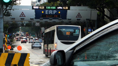 Time Lapse Asia Singapore downtown traffic ERP Electronic Toll collection system Stock Footage