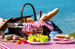 picnic near a lake - stock photo