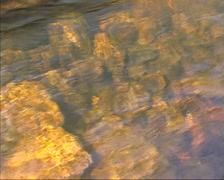 Water flowing over boulders - close up bottom of canal Stock Footage