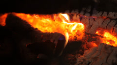Logs burning in Russian stove close up Stock Footage