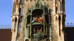 Glockenspiel Clock in Munich's Marienplatz on the City Hall wall Stock Footage