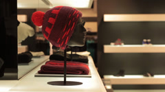 hats on mannequins in wear store - stock footage