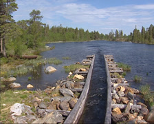 FEMUNDSMARKA, NORWAY: Second canal connecting lakes for firewood transportation Stock Footage