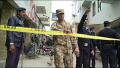 Police and Rangers Cordon off Islamabad District Court Suicide Blast Scene - stock footage