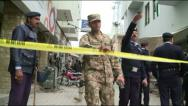 Stock Video Footage of Police and Rangers Cordon off Islamabad District Court Suicide Blast Scene