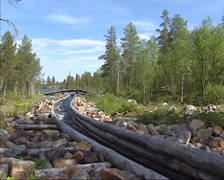 FEMUNDSMARKA, NORWAY: Curved canal - view downstream Stock Footage