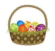 wooden basket with easter eggs - stock illustration