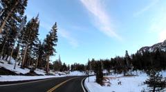 POV road trip State Route 108 Sonora mountain Pass snow Sierra Nevada California Stock Footage