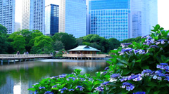 Contrast between the traditional gardens with skyscrapers in the background. Stock Footage