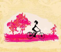 Cycling grunge poster with silhouette girl Stock Illustration
