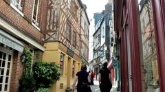 Europe France Normandy fishing village of Honfleur 025 small alley Stock Footage
