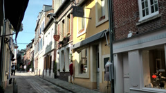 Europe France Normandy fishing village of Honfleur 027 closed stores Stock Footage