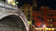 Stock Video Footage of Rialto bridge in Venice at night, Italy