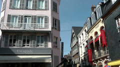 Europe France Normandy fishing village of Honfleur 020 houses corner on piazza Stock Footage
