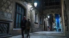 Bridge over Carrer del Bisbe  in Barri Gotic, Barcelona - stock footage