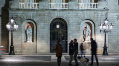 People walking on Plaza de la Constitucion, Barcelona Stock Footage