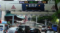 Asia Singapore downtown traffic ERP Electronic Toll collection system Stock Footage