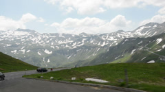 Driving along Grossglockner road through alps. Stock Footage
