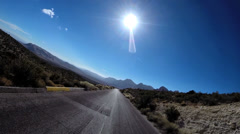 POV Red Rock road trip desert Route 159 blue sky extreme climate Conservation - stock footage