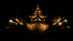 Karaweik Palace at Night in Yangon, Burma Stock Footage