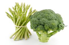 asparagus sprouts and broccoli floret - stock photo