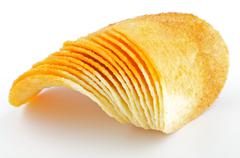 Arrangement of potato chips Stock Photos