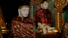Buddha Sculpures at the Shwedagon Pagoda Stock Footage