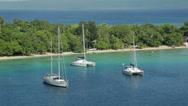 Stock Video Footage of yachts moored in tropical island. Port vila harbour, vanuatu