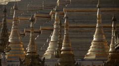 Golden Stupas of the Shwedagon Pagoda Stock Footage