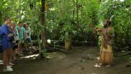 Stock Video Footage of chief explains culture to tourists at ekasup village, port vila, vanuatu