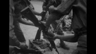 Soldiers cleaning the rifle Stock Footage