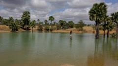Water Reservoir in a Dry region of Burma Stock Footage