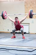Heavy athletics, weightlifter... Stock Photos