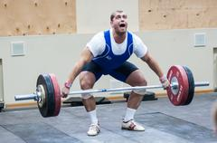 heavy athletics, weightlifter... - stock photo