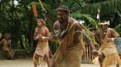 Futuna men dance at ekasup village, port vila, vanuatu Stock Footage
