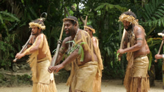 Stock Video Footage of futuna men dance at ekasup village, port vila, vanuatu