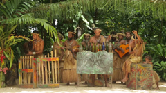 Men sing and play music at ekasup village, port vila, vanuatu Stock Footage