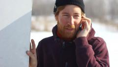 Bearded man talking on the phone Stock Footage