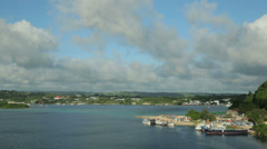 shipping and coastline at port vila harbour, vanuatu - stock footage