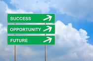 Stock Illustration of success, opportunity and future on green road sign