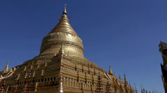 Shwezigon Temple, Bagan, Myanmar Stock Footage