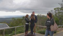 A wide angle pan at mount lofty tower at the viewpoint during the day Stock Footage