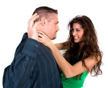 fighting couple - stock photo