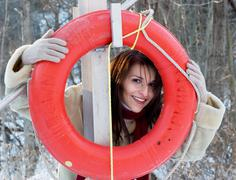 playing with a life preserver - stock photo
