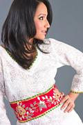 indian embroidered women's apparel - stock photo