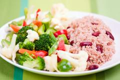 Caribbean style rice with vegetables Stock Photos