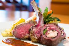 Crusted stuffed lamb chops Stock Photos