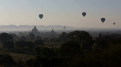 Hot Air Ballooning Over the Ancient Temples of Bagan Stock Footage